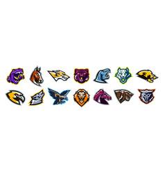 set animal logos bear dinosaur eagle vector image