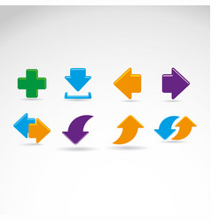 set colored straight arrows vector image