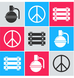 Set hand grenade peace and military ammunition vector