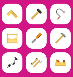 Set of 9 editable tools flat icons includes vector