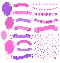 Set of flat pink and purple isolated balloons vector