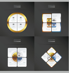 Set of presentation template gold bronze vector