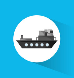 Ship cargo container transport vector