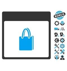 Shopping Bag Calendar Page Icon With Bonus vector