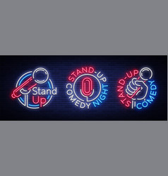 stand up comedy show is a collection of neon vector image