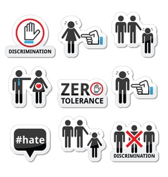 Stop discrimination of men and women icons set vector