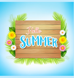 Summer vacation concept with flower and palm leaf vector