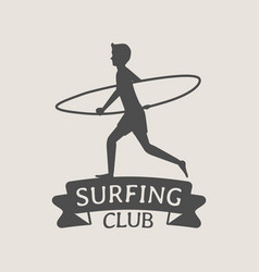 surfing club logo or symbol design with running vector image