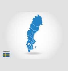 Sweden map design with 3d style blue sweden map vector