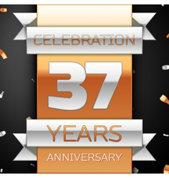 Thirty seven years anniversary celebration golden vector