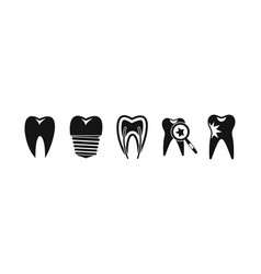 tooth icon set simple style vector image