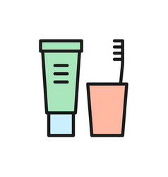 toothpaste and brush dental hygiene flat color vector image