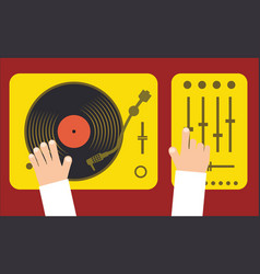 turntable and mixer with dj hands modern music vector image