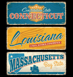 usa states grunge signs american travel tourism vector image
