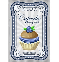 Vintage cupcake poster vector image