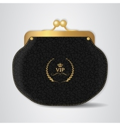 VIP Black leather purse with gold clasp vector