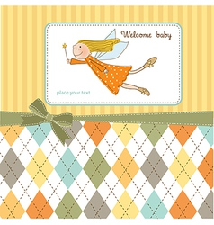 Welcome baby girl card with little fairy vector
