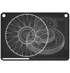 wheel and gear mechanism on a black vector image