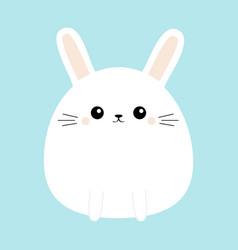 White bunny rabbit icon funny head face cute vector