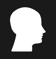 white silhouette head on dark background vector image