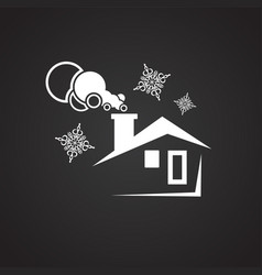 winter house on black background vector image