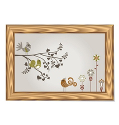 Wood frame with floral and birds vector