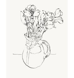 digital sketch drawing of flower vector image