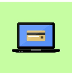 Flat style laptop with bank card vector image