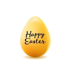 happy easter poster realistic yellow egg without vector image vector image