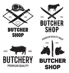 set of butchery logo templates butchery labels vector image vector image