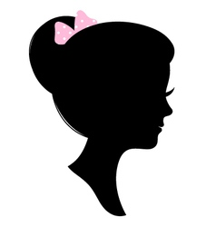 Vintage woman head silhouette isolated on white vector image vector image