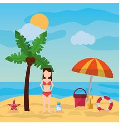 woman standing in beach palm umbrella bucket vector image