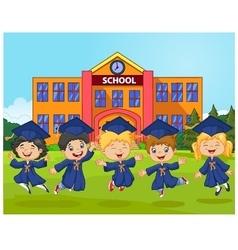 Cartoon little children Graduation Celebration on vector image