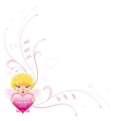 Happy valentines day border cupid boy angel vector