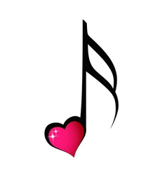 Music note with shiny heart vector image vector image