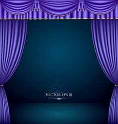 Purple and gold theater curtain classic vector image vector image