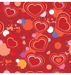 seamless background with hearts and splashes vector image