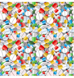 bright different pills and capsules seamless vector image