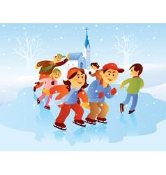 kids playing ice skating vector image vector image