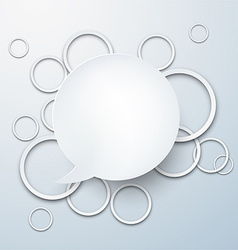 Speech bubble with paper white circles vector image