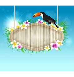 Summer tropical background with toucan vector image vector image