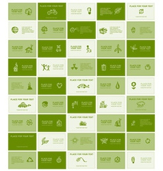 Business cards with ecology icons for your design vector image vector image