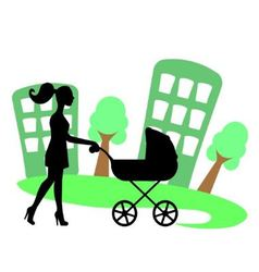 silhouette of a woman with a baby carriage vector image vector image