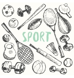 Sport equipment doodle set drawn sketch vector image