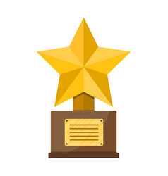 trophy winner gold star cup with wooden base vector image vector image