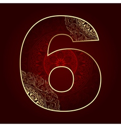 Vintage number 6 with floral swirls vector image vector image