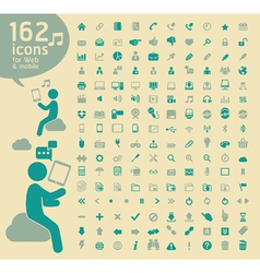 162 basic Icons retro color vector image