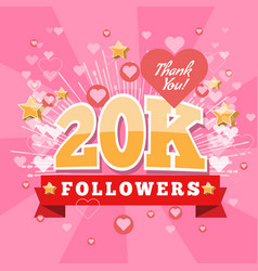 20k followers and thank you banner background with vector image