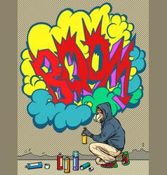 A teenage boy draws graffiti image tag vector
