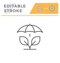 Agricultural insurance editable stroke line icon vector